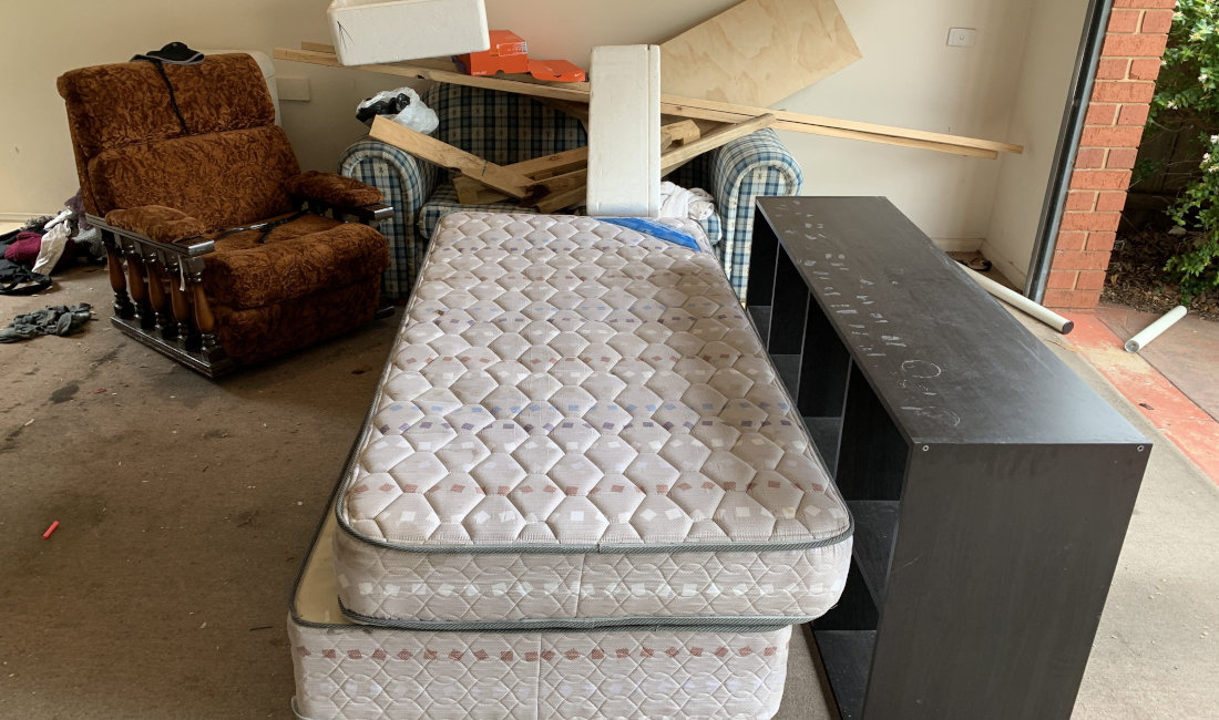 real estate old mattress furniture rubbish before