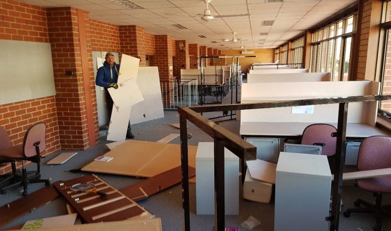 school rubbish removal in progress